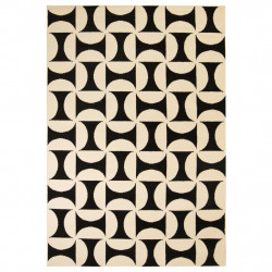 Sonata Модерен килим, геометричен дизайн, 80x150 см, бежово/черно - Килими, Мокети и Подложки