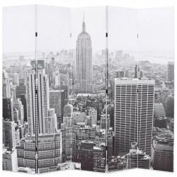 Sonata Сгъваем параван за стая, 200x170 см, дневен Ню Йорк, черно-бял - Аксесоари за Всекидневна