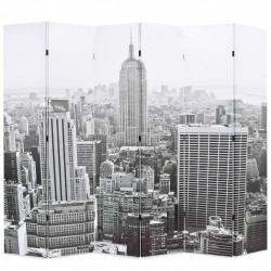 Sonata Сгъваем параван за стая, 228x170 см, дневен Ню Йорк, черно-бял - Аксесоари за Всекидневна