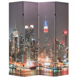 Sonata Сгъваем параван за стая, 160x170 см, нощен Ню Йорк - Аксесоари за Всекидневна