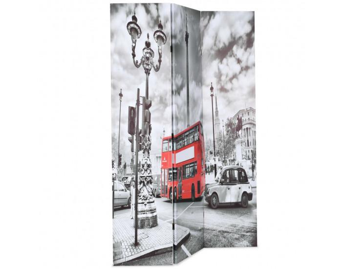 Sonata Сгъваем параван за стая, 120x170 см, автобус Лондон, черно-бял -
