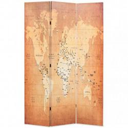 Sonata Сгъваем параван за стая, 120x170 см, карта на света, жълт - Аксесоари за Всекидневна