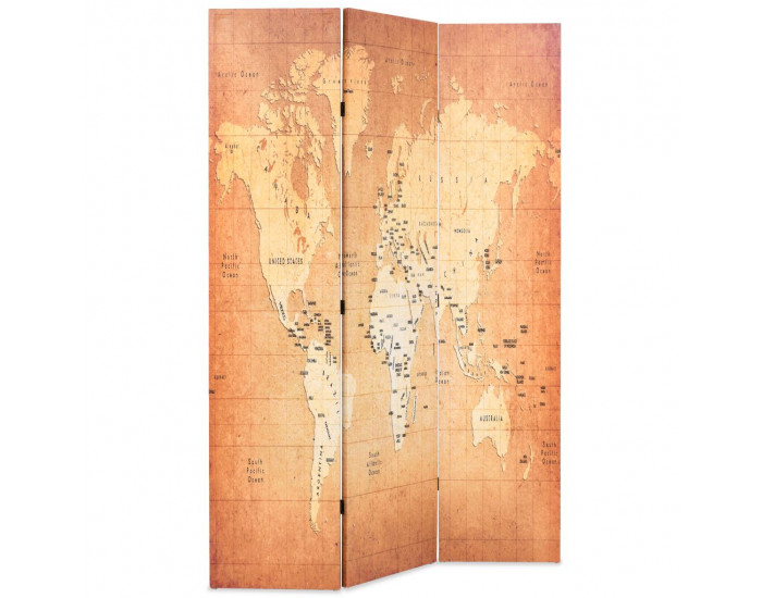 Sonata Сгъваем параван за стая, 120x170 см, карта на света, жълт -