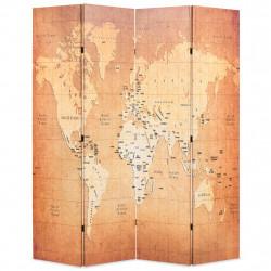 Sonata Сгъваем параван за стая, 160x170 см, карта на света, жълт - Аксесоари за Всекидневна