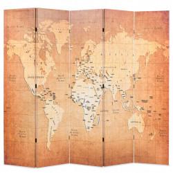 Sonata Сгъваем параван за стая, 200x170 см, карта на света, жълт - Аксесоари за Всекидневна