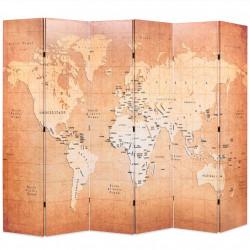 Sonata Сгъваем параван за стая, 228x170 см, карта на света, жълт - Аксесоари за Всекидневна