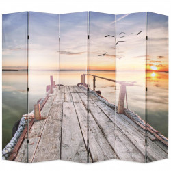 Sonata Сгъваем параван за стая, 228x170 см, езеро - Аксесоари за Всекидневна