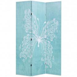 Sonata Сгъваем параван за стая, 120x170 см, пеперуда, син - Аксесоари за Всекидневна