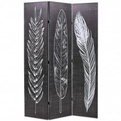 Sonata Сгъваем параван за стая, 120x170 см, пера, черно и бяло - Аксесоари за Всекидневна