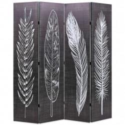 Sonata Сгъваем параван за стая, 160x170 см, пера, черно и бяло - Аксесоари за Всекидневна