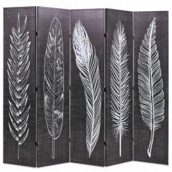 Sonata Сгъваем параван за стая, 200x170 см, пера, черно и бяло - Аксесоари за Всекидневна