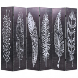 Sonata Сгъваем параван за стая, 228x170 см, пера, черно и бяло - Аксесоари за Всекидневна