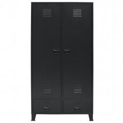 Sonata Гардероб метален, индустриален стил, 90x40x180 см, черен - Сравняване на продукти