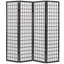 Sonata Параван за стая, 4 панела, японски стил, 160х170 cм, черен - Аксесоари за Всекидневна