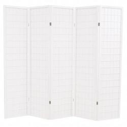 Sonata Параван за стая, 5 панела, японски стил, 200х170 cм, бял - Аксесоари за Всекидневна