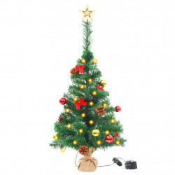 Sonata Изкуствена елха, украсена с играчки и LED лампи, 64 см, зелена - Сезонни и Празнични Декорации
