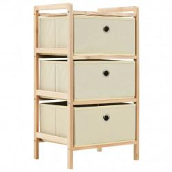Sonata Шкаф за съхранение, 3 кошници нетъкан плат, дърво кедър, бежов - Скринове