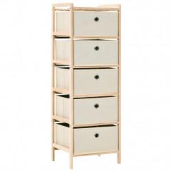 Sonata Шкаф за съхранение, 5 кошници от текстил, дърво кедър, бежов - Скринове