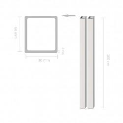 Sonata Кухи пръти конструкционна стомана 2 бр правоъгълни 1м 60х30х2мм - Панели и Детайли