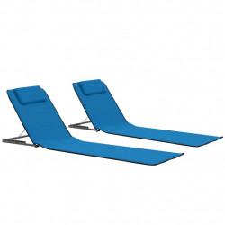 Sonata Сгъваеми плажни постелки, 2 бр, стомана и плат, сини - Шезлонги