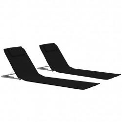 Sonata Сгъваеми плажни постелки, 2 бр, стомана и плат, черни - Шезлонги