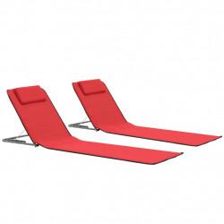 Sonata Сгъваеми плажни постелки, 2 бр, стомана и плат, червени - Шезлонги