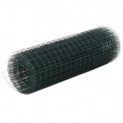 Sonata Стоманена мрежа с PVC покритие квадратни отвори 10x0,5 м зелена - Огради