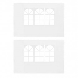Sonata Странични стени за парти шатра, 2 бр, с прозорци, PE, бели - Шатри и Градински бараки