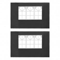 Sonata Странични стени за парти шатра, 2 бр, с прозорци, PE, антрацит - Шатри и Градински бараки
