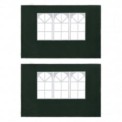Sonata Странични стени за парти шатра, 2 бр, с прозорци, PE, зелени - Шатри и Градински бараки