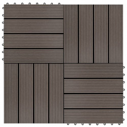 Sonata 11 бр декинг плочки, WPC, 30x30 см, 1 кв.м., тъмнокафяви - Сравняване на продукти
