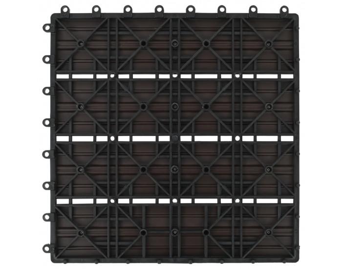 Sonata 11 бр декинг плочки, WPC, 30x30 см, 1 кв.м., тъмнокафяви -