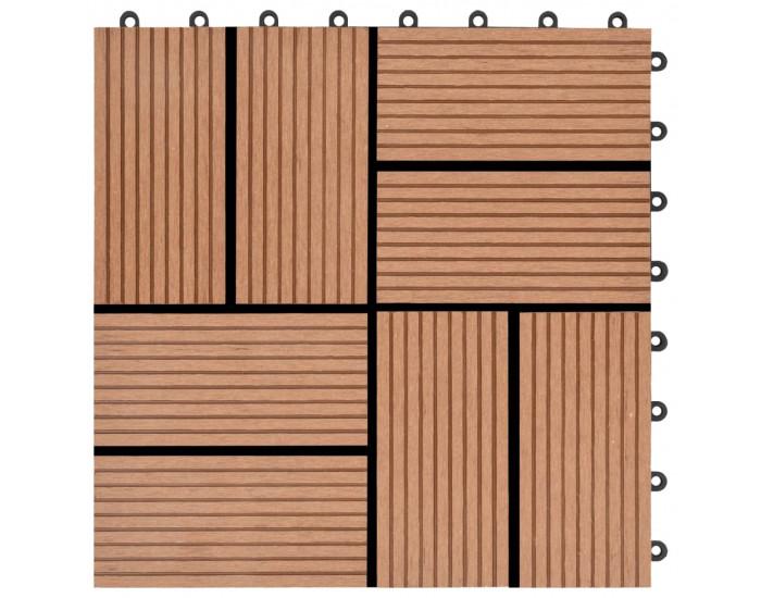 Sonata 11 бр декинг плочки, WPC, 30x30 см, 1 кв.м., кафяви -