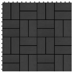 Sonata 11 бр декинг плочки, WPC, 30x30 см, 1 кв.м., черни - Подови настилки