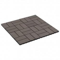 Sonata 11 бр декинг плочки, WPC, 30x30 см, 1 кв.м., тъмнокафяви - Подови настилки