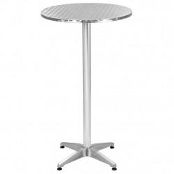 Sonata Бар комплект с кръгла маса, 3 части, сребрист, алуминий - Градински комплекти