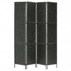 Sonata Параван за стая, 4 панела, черен, 154x160 cм, воден хиацинт - Аксесоари за Всекидневна