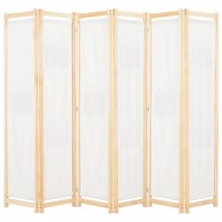 Sonata Параван за стая, 6 панела, кремав, 240х170х4 cм, текстил - Аксесоари за Всекидневна