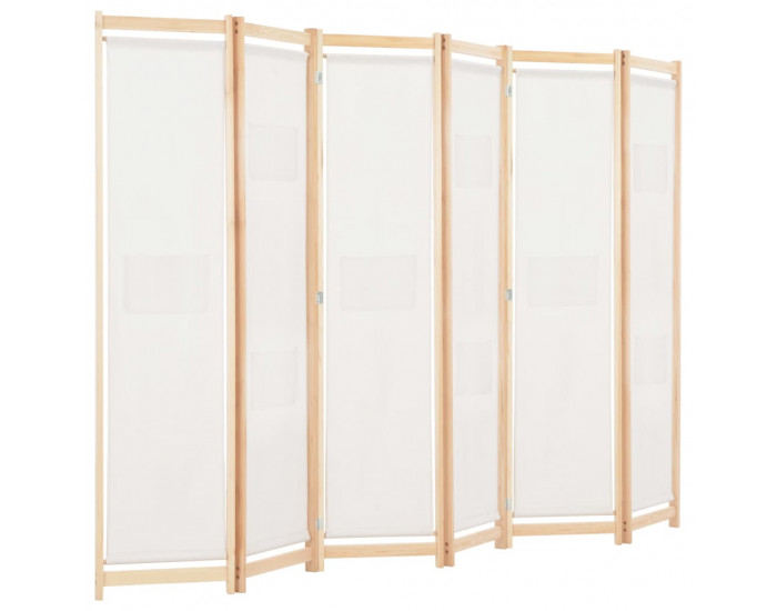 Sonata Параван за стая, 6 панела, кремав, 240х170х4 cм, текстил -