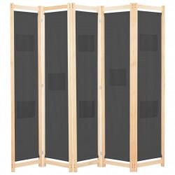 Sonata Параван за стая, 5 панела, сив, 200x170x4 cм, текстил - Аксесоари за Всекидневна