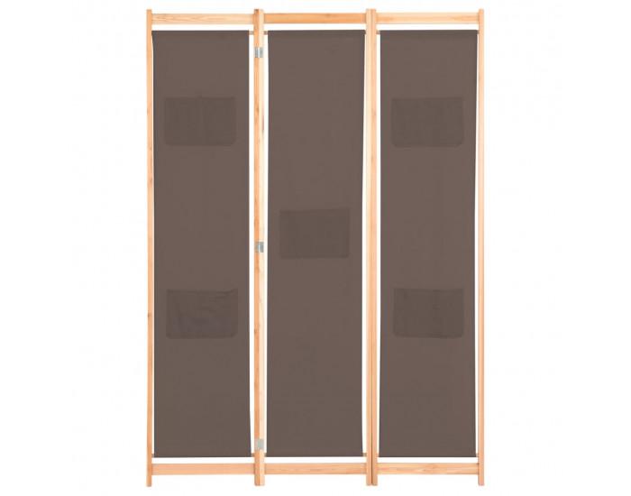 Sonata Параван за стая, 3 панела, кафяв, 120x170x4 cм, текстил -