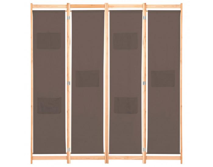 Sonata Параван за стая, 4 панела, кафяв, 160x170x4 cм, текстил -