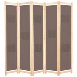 Sonata Параван за стая, 5 панела, кафяв, 200x170x4 cм, текстил - Аксесоари за Всекидневна