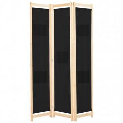 Sonata Параван за стая, 3 панела, черен, 120x170x4 cм, текстил - Аксесоари за Всекидневна