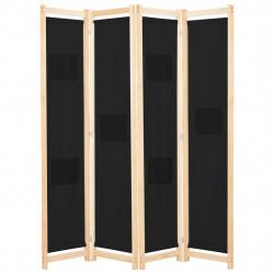 Sonata Параван за стая, 4 панела, черен, 160x170x4 cм, текстил - Аксесоари за Всекидневна