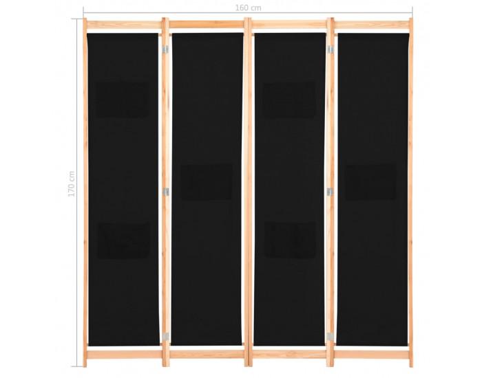 Sonata Параван за стая, 4 панела, черен, 160x170x4 cм, текстил -
