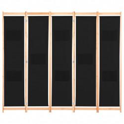 Sonata Параван за стая, 5 панела, черен, 200x170x4 cм, текстил - Аксесоари за Всекидневна