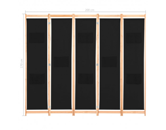 Sonata Параван за стая, 5 панела, черен, 200x170x4 cм, текстил -