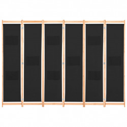 Sonata Параван за стая, 6 панела, черен, 240х170х4 cм, текстил - Аксесоари за Всекидневна