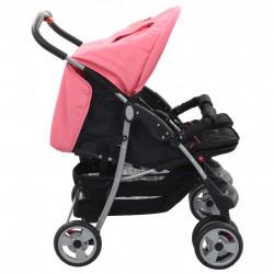 Sonata Бебешка количка за близнаци, розово и черно, стомана - Детски превозни средства
